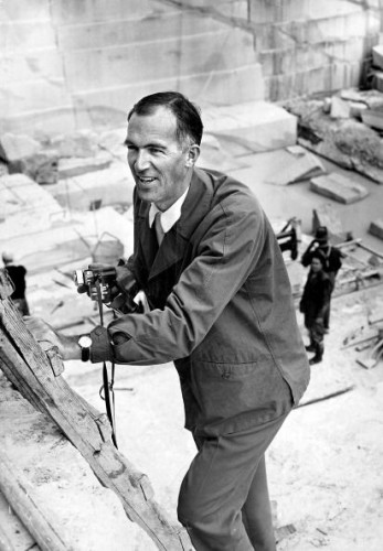 Danish architect, Joern Utzon, on site during the construction of the Sydney Opera House, De