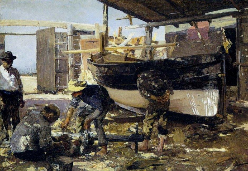 1894-SOROLLA-Constructores de barcos, 50 x 71cm (Museo de Bellas Artes de Asturias, Oviedo)