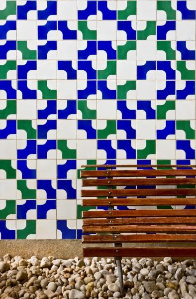 Caixa Econ_mica Federal Natal RN Painel de Azulejos Arq Cl_udio Meirelles Fontes 1976