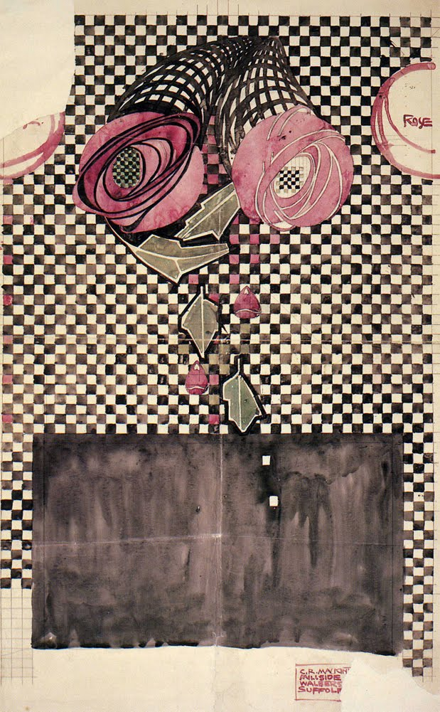 'Roses on a checkered ground' textile design by Charles Rennie Mackintosh, produced in 1914.