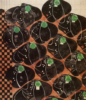 'Stylized flowers and checkerwork' textile design by Charles Rennie Mackintosh, produced in 1915.