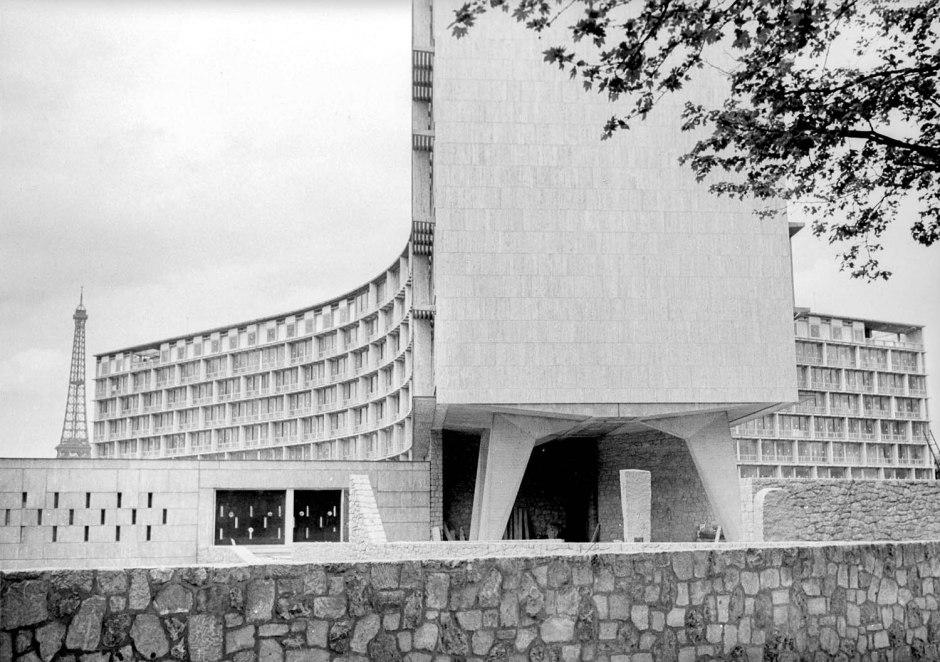 Paris. VIIËme arr.. La Maison de l'Unesco, construite en 1955-1958 (Architectes : Breuer, Nervi et Zehrfuss). Photographie de Dominique Berretty.