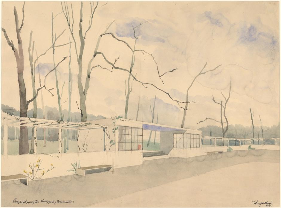 Acuarela de Jacobsen para el pabellón de entrada al complejo de instalaciones para la playa Bellevue en Klampenborg (1931).