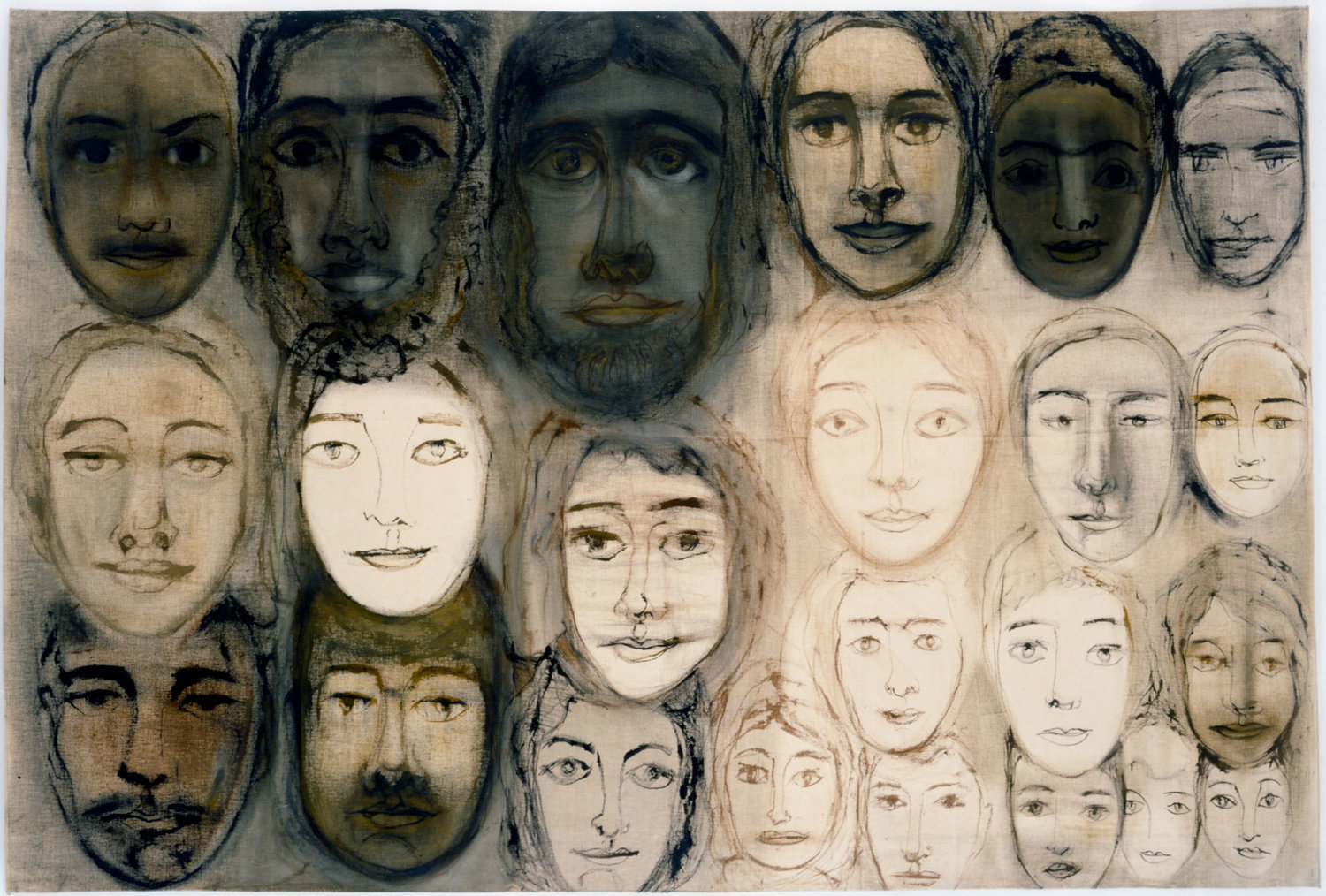 Hedda Sterne, Detail from Everyone , 1970, Acrylic on unstretched canvas