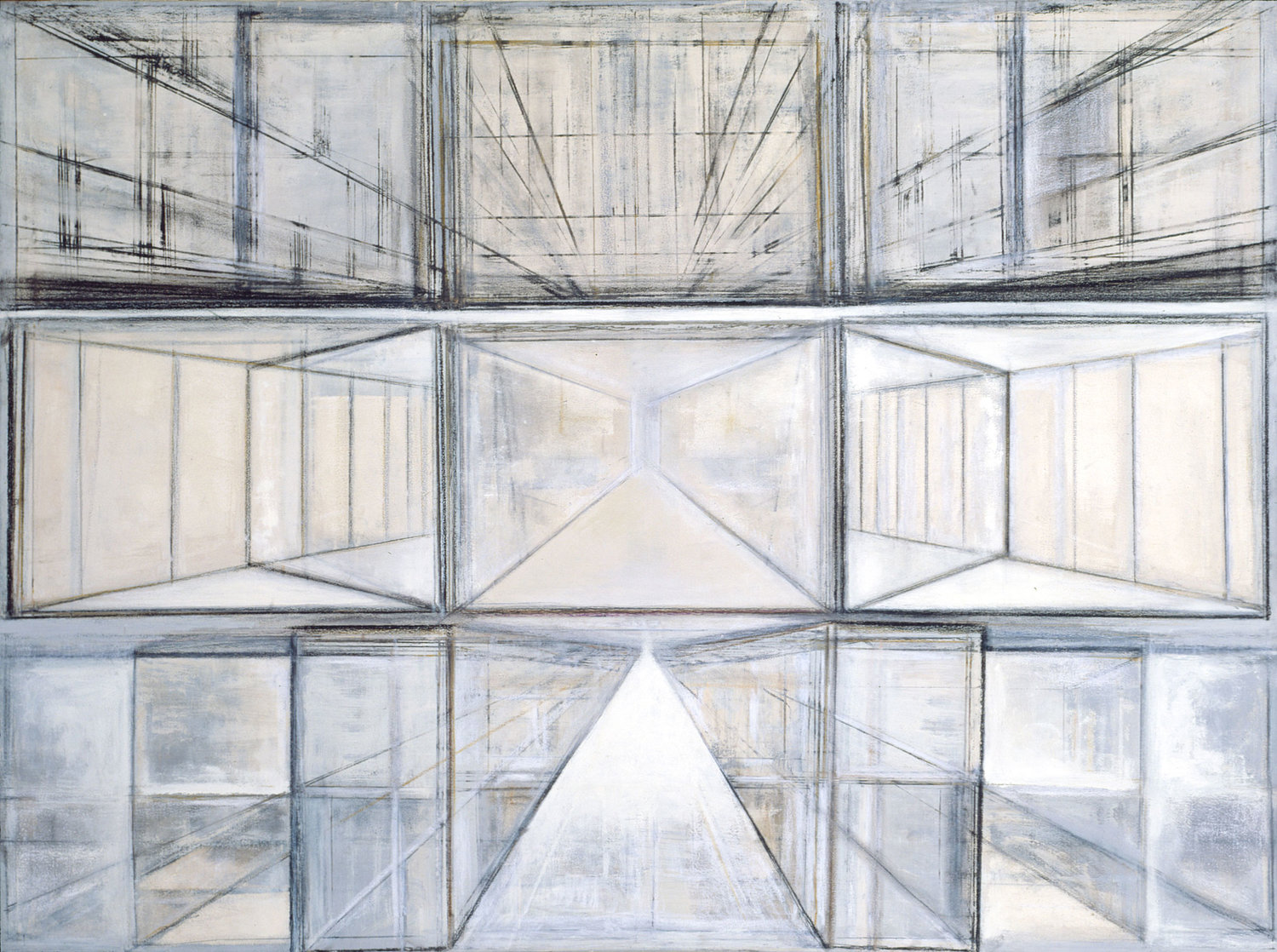 Hedda Sterne, Rectangles , 1981, Acrylic on canvas, 54 x 72 in., Collection of the Queens Museum, New York